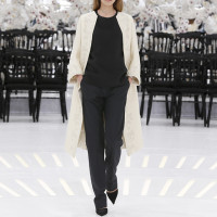 LOOK 37,EMBROIDERED OFF WHITE WOOL COAT WITH BLACK WOOL TOP AND BLACK WOOL PANTS.