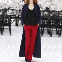 LOOK 26,LONG NAVY BLUE WOOL COAT WITH BLACK WOOL TOP AND BURGUNDY WOOL PANTS.