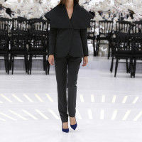 LOOK 56,BLACK CASHMERE JACKET WITH BLACK WOOL PANTS.