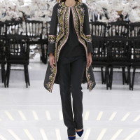 LOOK 38,EMBROIDERED BLACK SILK COAT WITH BLACK WOOL TOP AND BLACK WOOL PANTS.