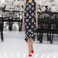 LOOK 46,EMBROIDERED DARK NAVY SILK DRESS.