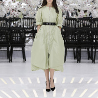 LOOK 13,PALE GREEN SILK DRESS.