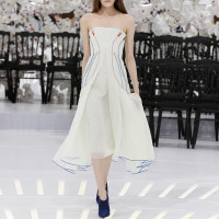 LOOK 58,EMBROIDERED PALE GREEN PLEATED SILK DRESS.