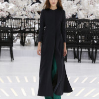 LOOK 20,LONG DARK NAVY CASHMERE COAT WITH GREEN WOOL PANTS.