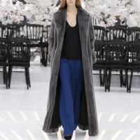 LOOK 23,LONG DARK GREY MINK COAT WITH BLACK WOOL TOP AND DARK NAVY PANTS.