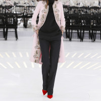 LOOK 36,EMBROIDERED PALE PINK SILK COAT WITH BLACK WOOL TOP AND BLACK WOOL PANTS.