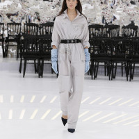 LOOK 12,EMBROIDERED DIOR GREY SILK JUMPSUIT.