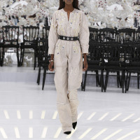 LOOK 10,EMBROIDERED GREGE SILK JUMPSUIT.
