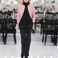 LOOK 41,EMBROIDERED PINK WOOL COAT WITH BLACK WOOL TOP AND BLACK WOOL PANTS.