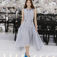 LOOK 61,EMBROIDERED DIOR GREY PLEATED SILK DRESS.