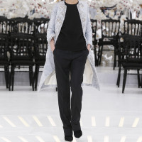 EMBROIDERED SILVER BLUE BREITSCHWANZ LOOK 39,COAT WITH BLACK WOOL PANTS.