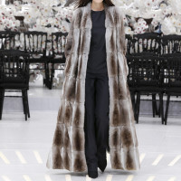 LOOK 24,LONG LIGHT TAUPE CHINCHILLA COAT WITH DARK NAVY WOOL TOP AND PANTS.