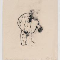 David Lynch, HEAD WITH BUG ON HEAD, (2010) mixed media on paper, 16'' x 14 3/4''