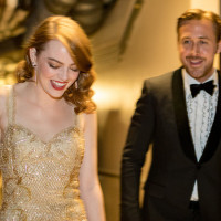 HOLLYWOOD, CA - FEBRUARY 26: Actor Ryan Gosling (R) and actress Emma Stone, winner of Best Actress for 'La La Land' backstage during the 89th Annual Academy Awards at Hollywood & Highland Center on February 26, 2017 in Hollywood, California.