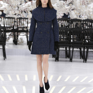 LOOK 53,DARK NAVY HEATHER TWEED WOOL COAT DRESS.