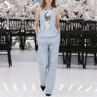 LOOK 14,EMBROIDERED PALE BLUE JACQUARD SILK TOP WITH PALE BLUE SILK PANTS.