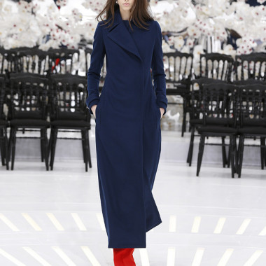 LOOK 27,LONG NAVY BLUE WOOL COAT WITH RED WOOL PANTS.