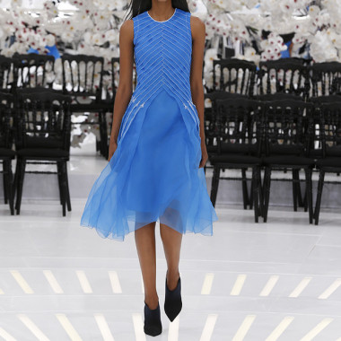 LOOK 59,EMBROIDERED ELECTRIC BLUE PLEATED SILK DRESS.