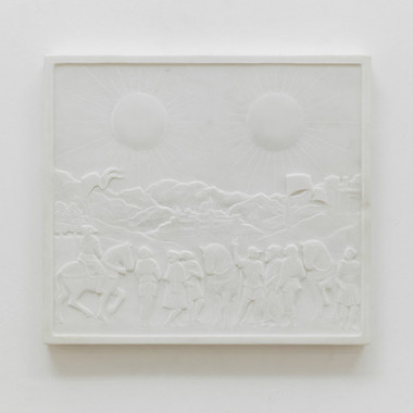 Soleil Double|Bas-relief in marble|36 x 41 x 3 cm| 2014Photo : Marina Gusina Courtesy : Edouard Malingue Gallery, Hong Kong.(C)Laurent Grasso / ADAGP, Paris, 2015