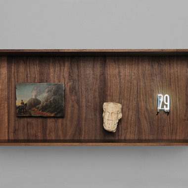 79, Pompeii Eruption|Cabinet in walnut wood, oil on wood, white marble, neon|45 x 110 x 30 cmPhoto : Pierre Antoine Courtesy : Galerie Perrotin, Paris.(C)Laurent Grasso / ADAGP, Paris, 2015