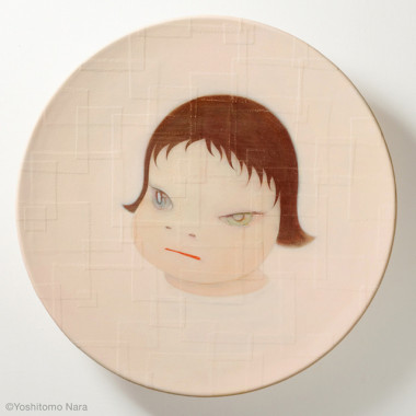 奈良美智「Shallow Puddles 2004」2004年 Acrylic on cotton, mounted on FRP 95 (diameter) x 15 cm Title revised in 2015