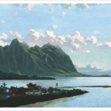 Louis Vuitton Travel Book Hawaii, illustre par Esad Ribic, 2017: Kane' ohe Bay with Chinaman' s Hat Island.