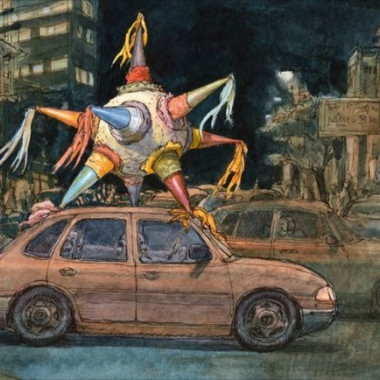 Louis Vuitton Travel Book Mexico, illustre par Nicolas de Crecy, 2017: seven-pointed pinata beingtransported on the roof of a car