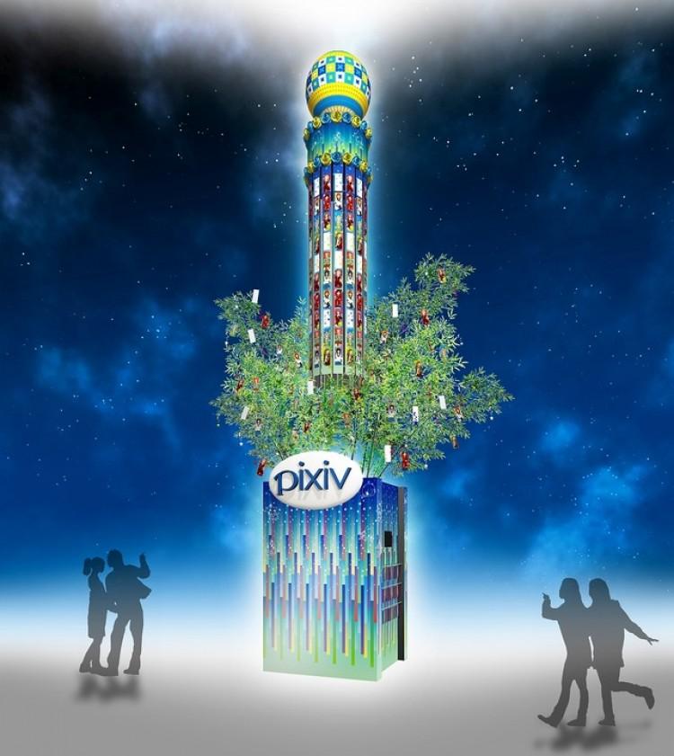 Pixivのイラスト数千枚使った巨大七夕飾り六本木ヒルズに出現