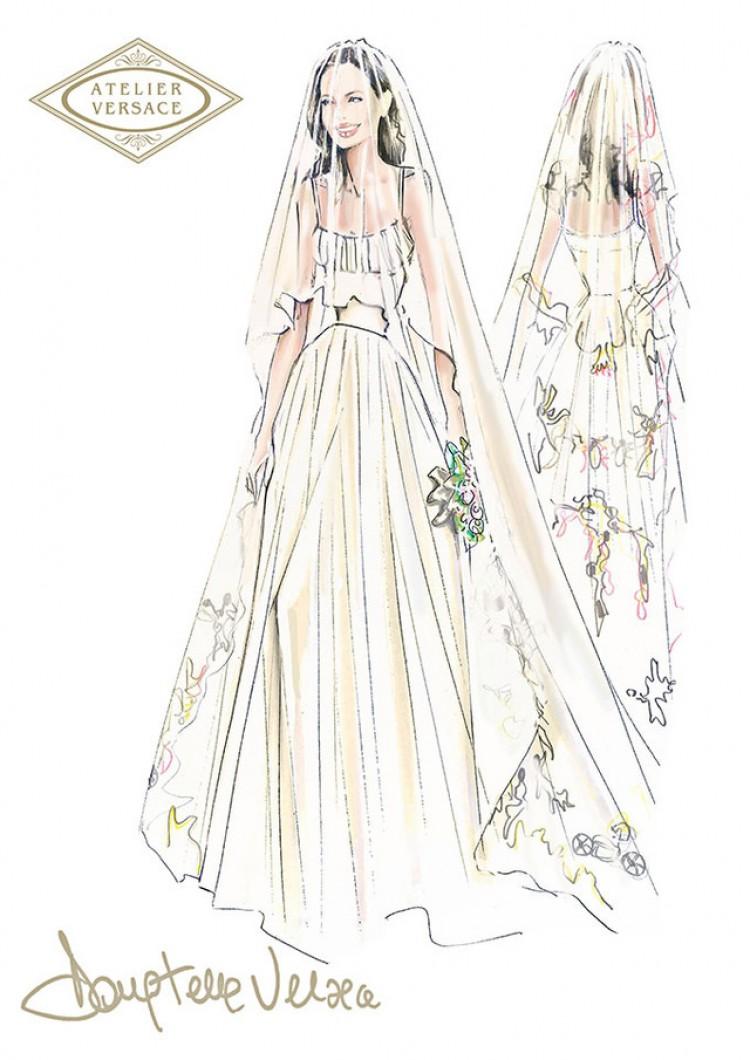 アンジェリーナ・ジョリーのウエディングドレスはヴェルサーチ