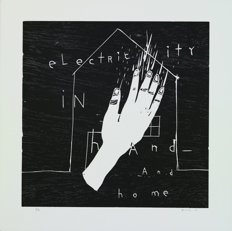 """Electricity in Hand and Home""  2010  wood cut  50.0 x 50.0cm"