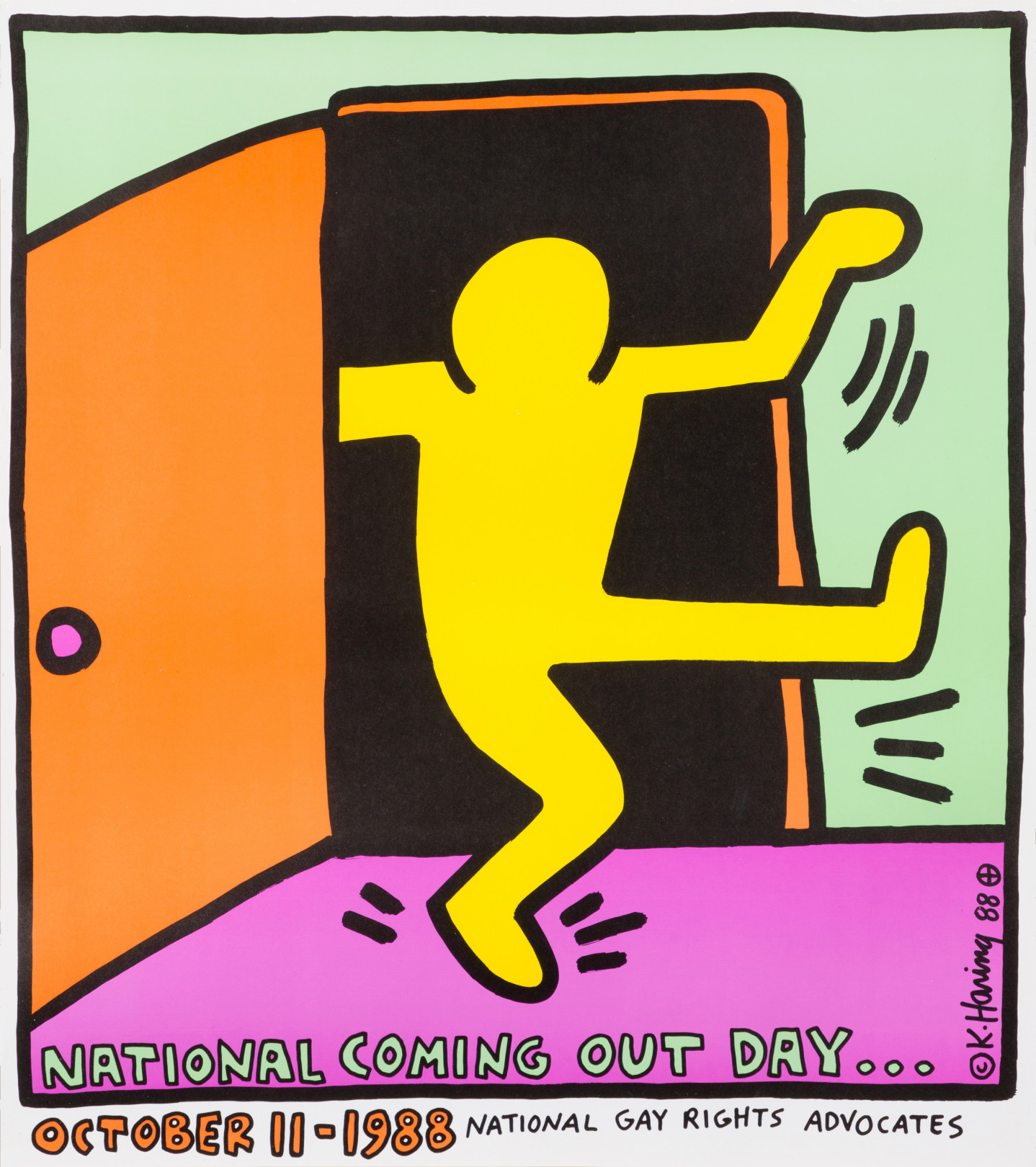 9489698b288bc9 ポスター「National Coming Out Day…」 1988© Keith Haring Foundation Courtesy of  Nakamura Keith Haring Collection.