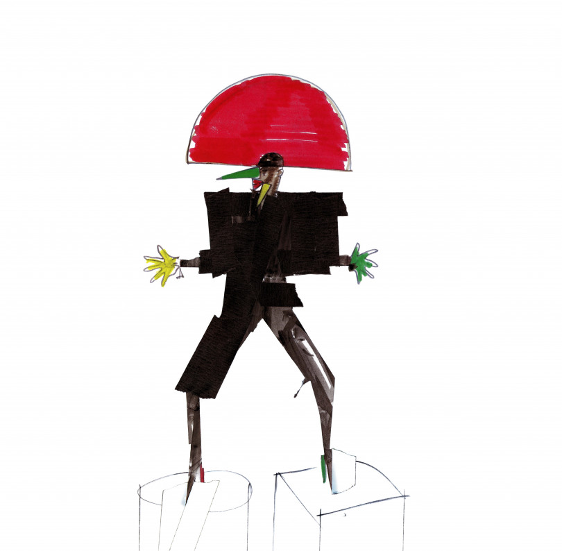 Libertango, Costume design, felt-tip and sticky tape on paper, New York, 1981